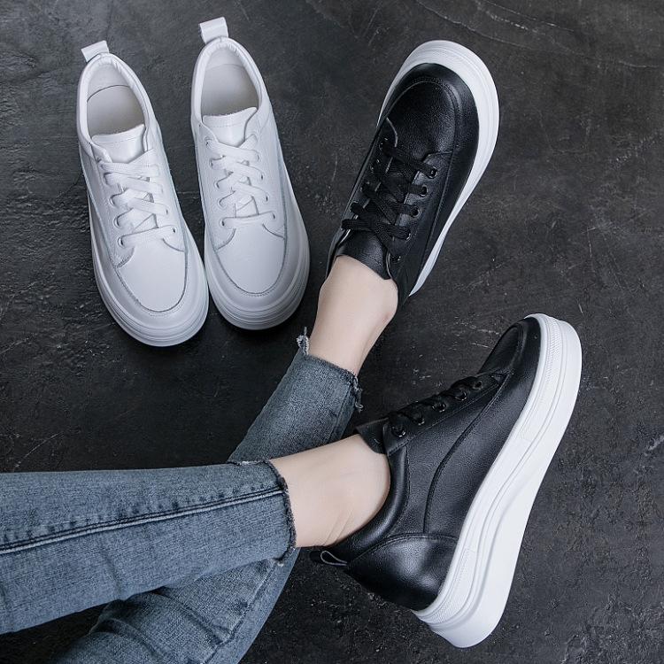 BRYX Giày bánh mì Mùa thu 2019 mới tăng giày trắng miệng nông nữ giản dị thoáng khí dày đáy hoang dã