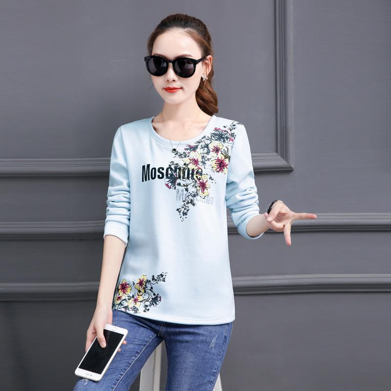 MYD Áo thun Mẫu áo mùa đông nữ 2019 size lớn cộng với áo thun nhung dài tay cộng với áo sơ mi nữ cộn