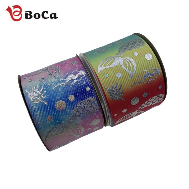 BOCAI đai dệt Nhà máy bán hàng trực tiếp 75MM webbing in chuyển nhiệt gradient chủ đề vành đai bronz