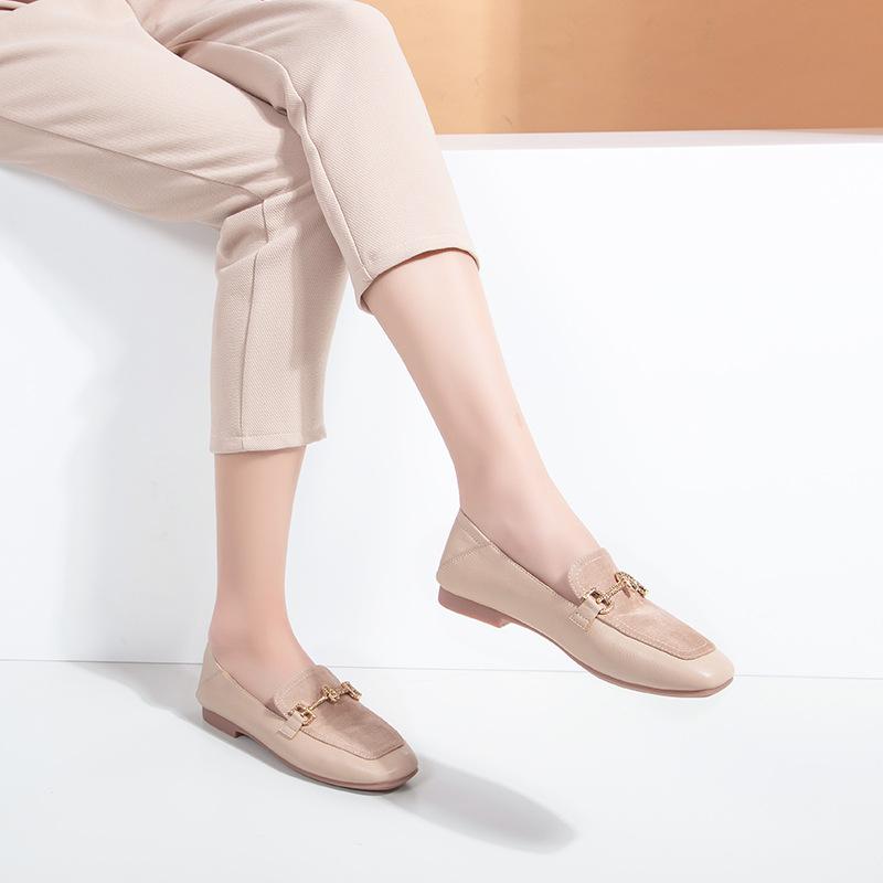BAILI Giày Loafer / giày lười Giày đế vuông retro dành cho nữ độc thân 2020 mùa xuân mới thoải mái h