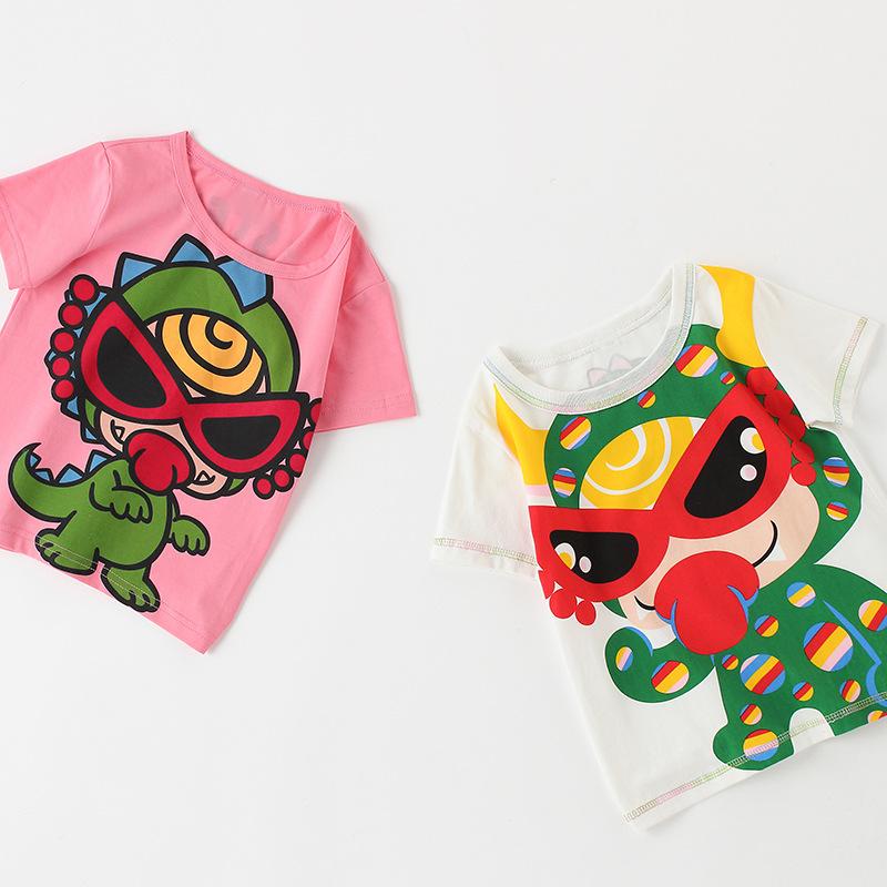 áo thun Mùa hè mới cho trẻ em áo thun ngắn tay thủy triều áo thun nam và nữ hoạt hình cotton áo sơ m