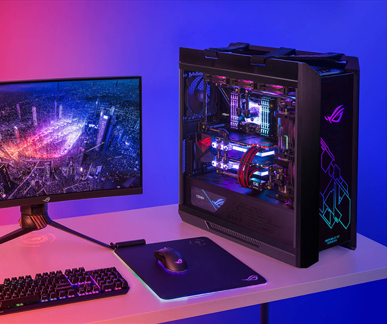 Thùng CPU ASUS Rog player country gx6001 sun God Tower side transparent game AsseIopment host water-