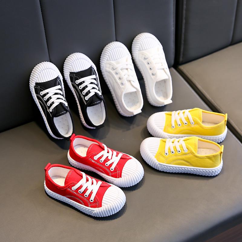 Giày vải trẻ em 2020 mùa xuân và mùa thu mới đôi giày trắng thoáng khí Đàn ông và phụ nữ Hàn Quốc Gi