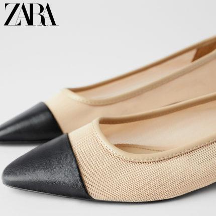 ZARA  giày bệt nữ  Giày nữ ZARA mới khâu ngón chân lưới phẳng giày ba lê 12506511202 Chiều cao 1,5 c