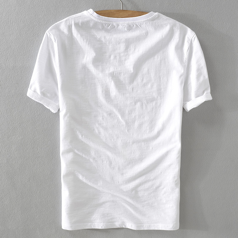 Áo thun Phim hoạt hình thêu vải lanh ngắn tay áo thun cổ tròn giản dị Cotton trắng và vải lanh nam á