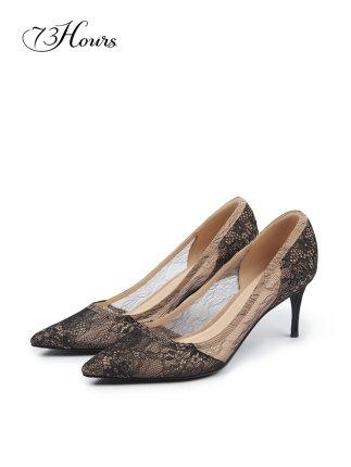 73h Giày da một lớp  sáng 2020 mùa xuân mới đen cao gót nữ giày cao gót ren nữ