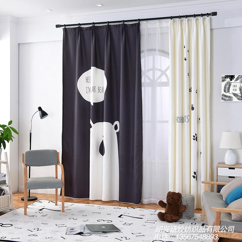 YILIAN Vải rèm cửa Ke Kiều rèm vải bán buôn Hàn Quốc phim hoạt hình đơn giản gấu gấu phòng ngủ trẻ e