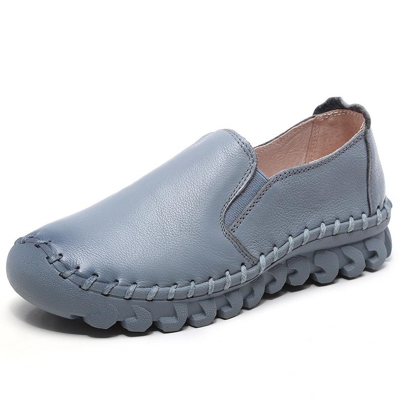 Infohomme Giày da Mùa xuân và mùa hè mới chính hãng giày da nữ đơn giày khâu tay mẹ thoải mái hoang