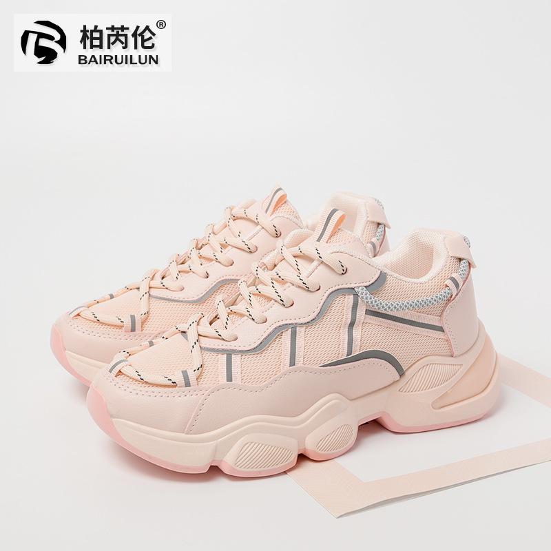 BAIRUILUN giày bánh mì / giày Platform Giày đế dày màu trắng đế mùa xuân 2020 phiên bản mới của Hàn