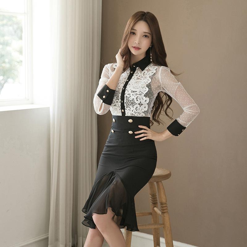 Đồ Suits Đầm xuyên biên giới 2019 Thu Đông Hàn Quốc Đầm ren mới + Váy nữ thời trang Set hai mảnh
