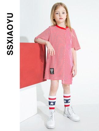 Trang phục trẻ em mùa hè  [Giảm 50%] Váy cho bé gái 2020 mùa xuân và hè mới Quần áo trẻ em sọc lệch
