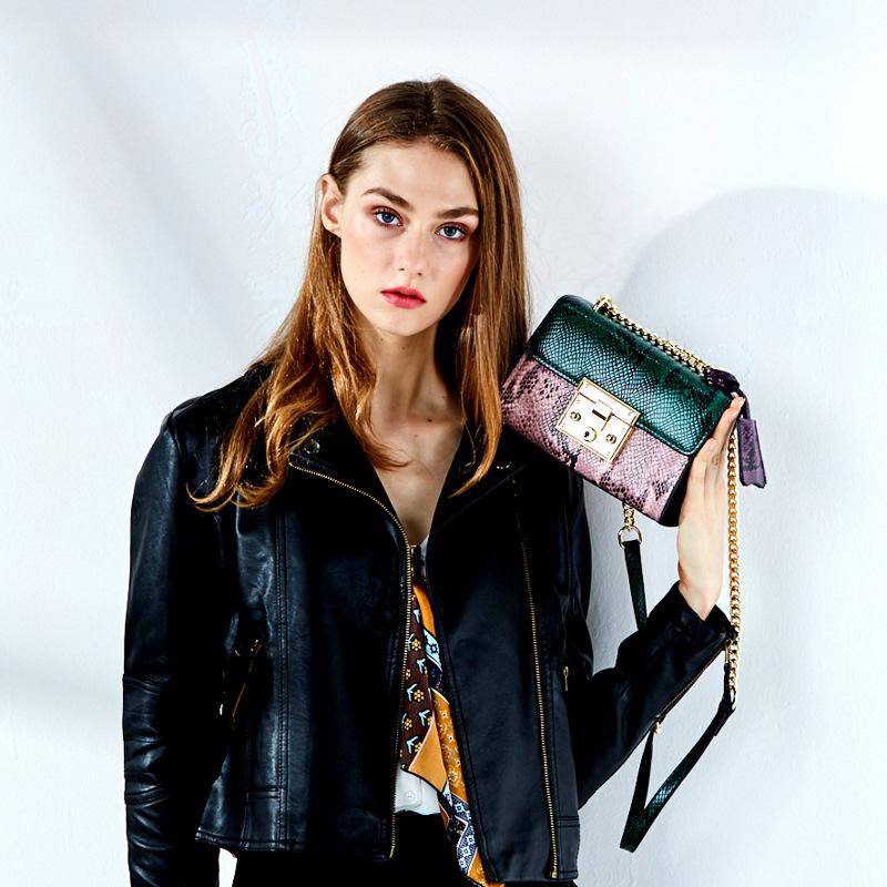 JINDAILIN thị trường túi - Vali Túi xách nữ 2019 Mới Snakeskin Leather Chain Bag Túi thời trang Túi