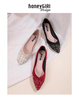 Giày da một lớp  mật ongGIRL2020 mùa xuân mới nhỏ phong cách nước hoa nhọn giày phẳng phụ nữ hoang d
