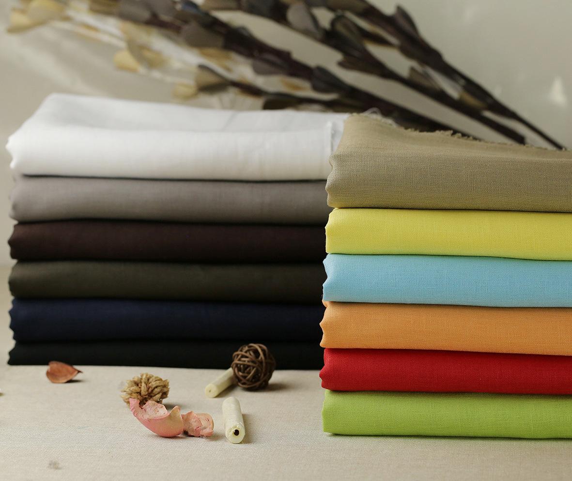 Vải Linen 14S vải lanh nguyên chất nhuộm vải quần áo thường thời trang vải lanh bán buôn