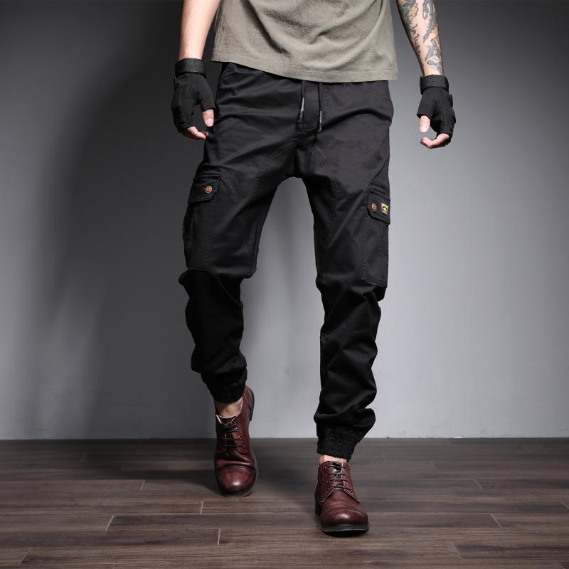 SHANGBUQI Quần Casual Mùa xuân 2019 mới cho nam size lớn quần yếm châu Âu và Hoa Kỳ thường xuyên co