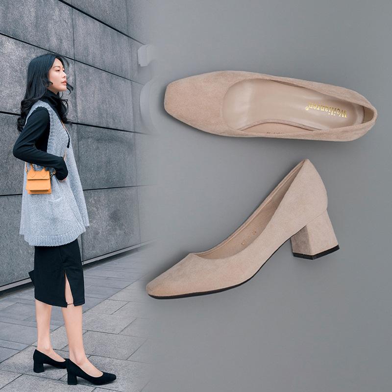 WEILIANREN Giày GuangDong 2020 mùa xuân giày đơn nữ cao gót vuông thời trang giày nữ hoang dã miệng