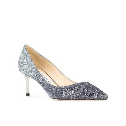 Giày cô dâu  Giày cao gót màu xanh ánh bạc và bạc ánh kim ánh kim cổ điển của Jimmy Choo Zhou Yangji