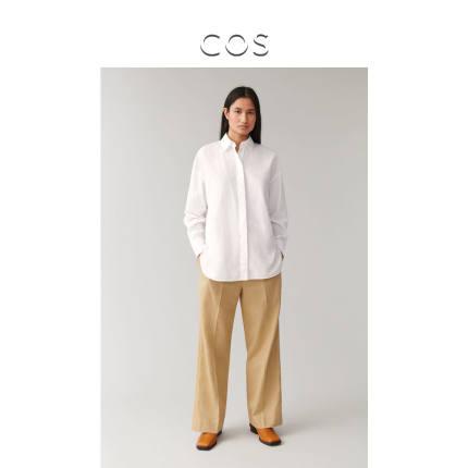 COS  Áo Sơmi Áo sơ mi cotton dài màu trắng của phụ nữ COS 2020 Xuân mới 0865616001