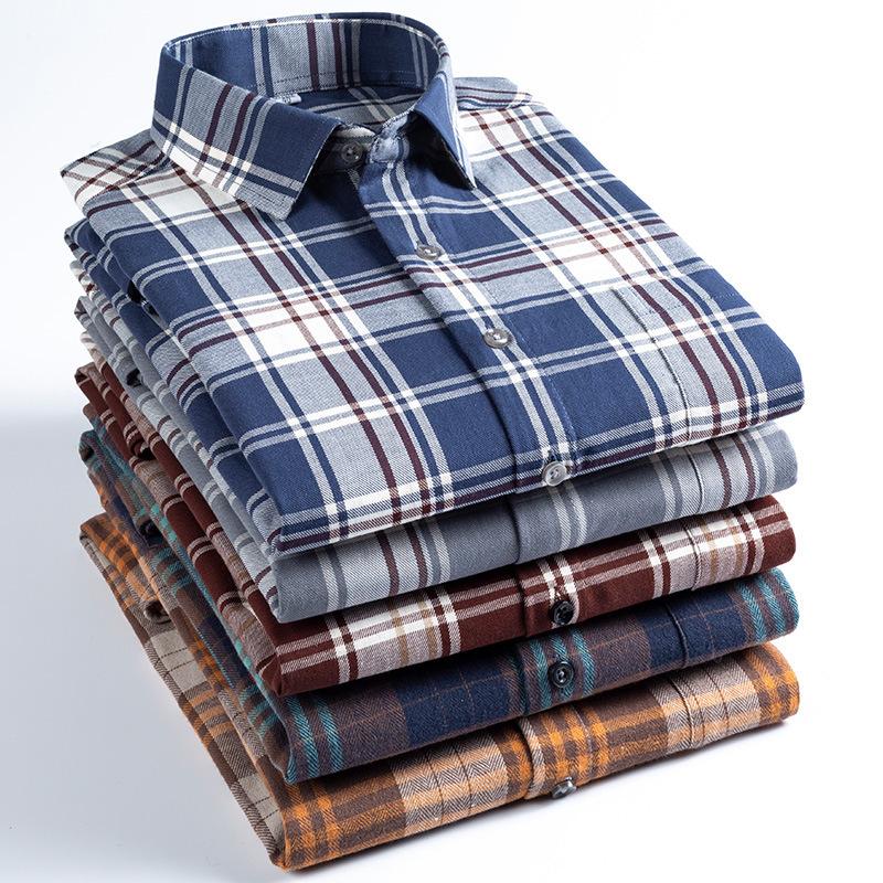 IREALDO Áo sơ mi Cổ áo vuông mới kẻ sọc sờn áo sơ mi nam đen văn học dài tay hàng đầu nam kinh doanh