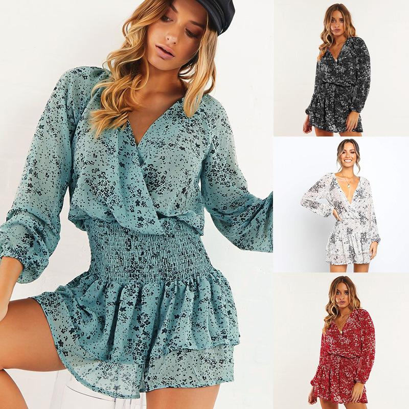 HUANZHOU Váy hè mới 2020 mẫu áo khoác xuyên biên giới Quần áo nữ Châu Âu Đầm voan cổ chữ V gợi cảm 2