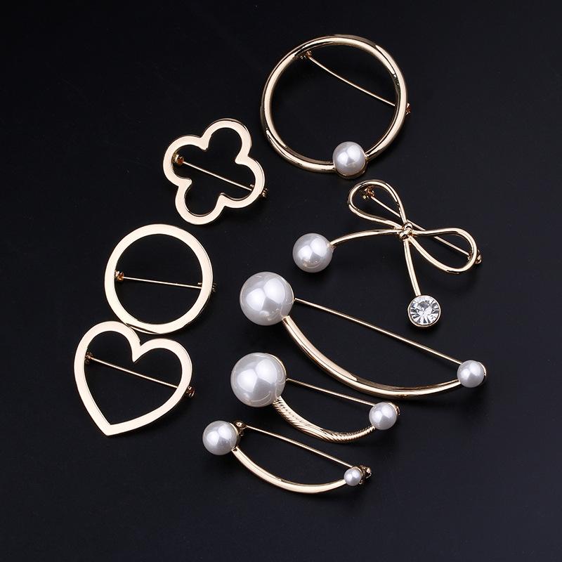 SHANLIYE Phụ kiện thời trang Trâm đơn giản Trâu Trâu Thời trang Bow Pearl Pin Khí quyển Áo khoác tha