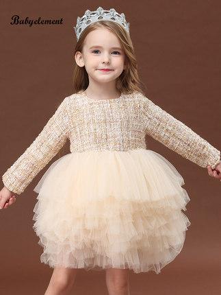 Trang phục dạ hôi trẻ em Váy bé gái xuân 2020 mới cho trẻ em nước ngoài mùa xuân và mùa thu bé gái v