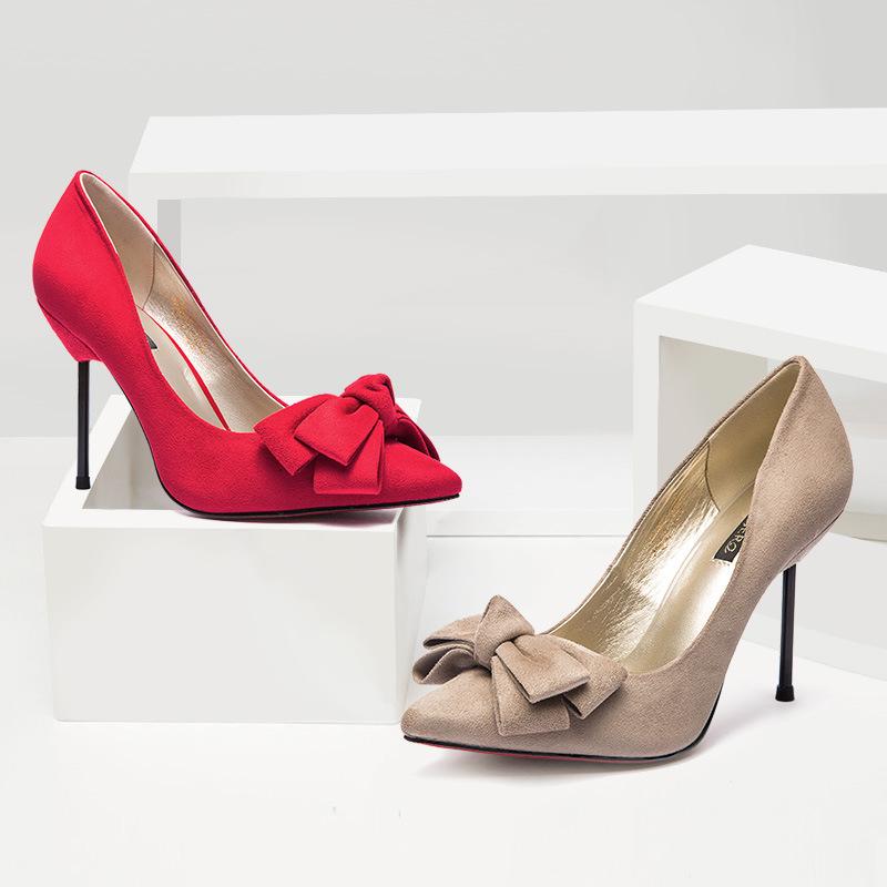 YDJR Giày cô dâu Một thế hệ phụ nữ đẹp 2017 giày cưới mới cung với giày cao gót nữ mũi nhọn Giày đế