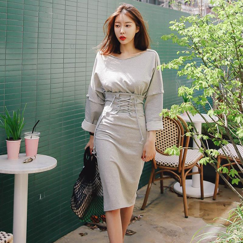 DUOKA Đồ Suits Bộ vest nữ cổ chữ V Hàn Quốc gợi cảm quây eo Quần dài tay cổ chữ V nữ mùa thu 2019 mớ
