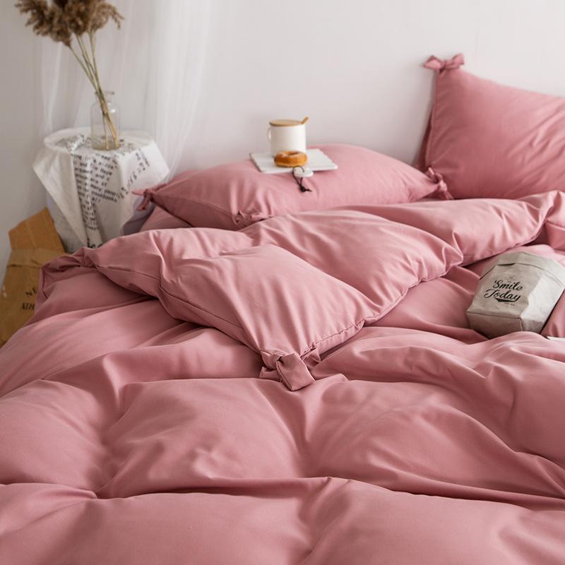 FANYU Dệt may gia dụng Tấm trải giường màu đỏ Bắc Âu INS Bốn tấm đơn 1,5m 1,8m Tấm trải giường Màu t