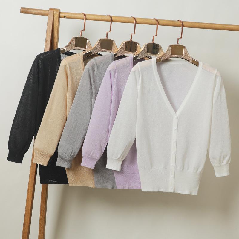 Rimehouse Áo khoác Cardigan Áo lụa băng phong cách mới, quần áo chống nắng, điều hòa, áo len, áo len