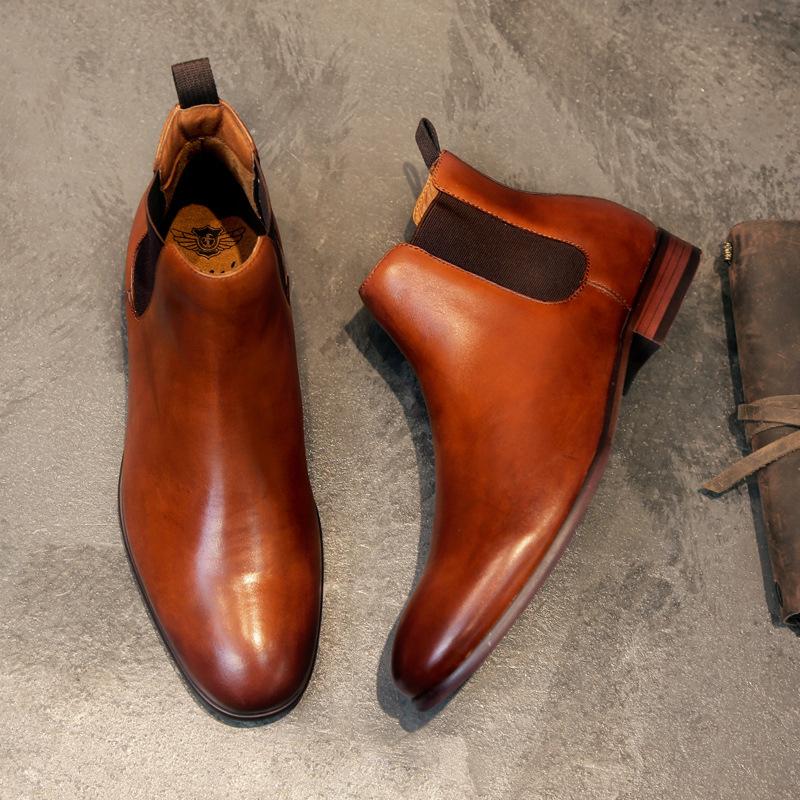 DESAI Giầy dép Giày da nam chính hãng Chelsea boot giày cỡ lớn lớp da retro retro Giày cao cổ nam gi