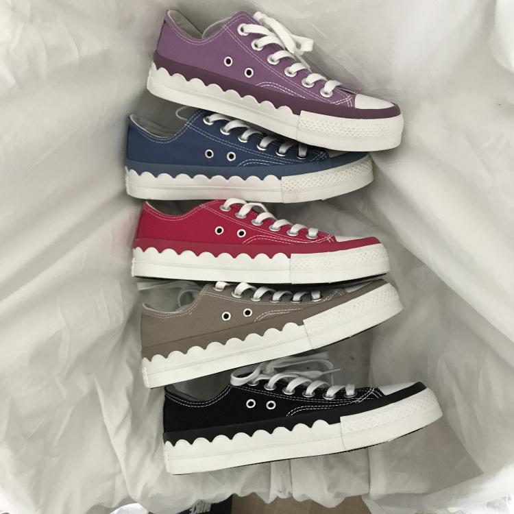 Thị trường giày nữ Giày ulzzang mới của Hàn Quốc kẹo màu thấp giày vải đế bằng retro