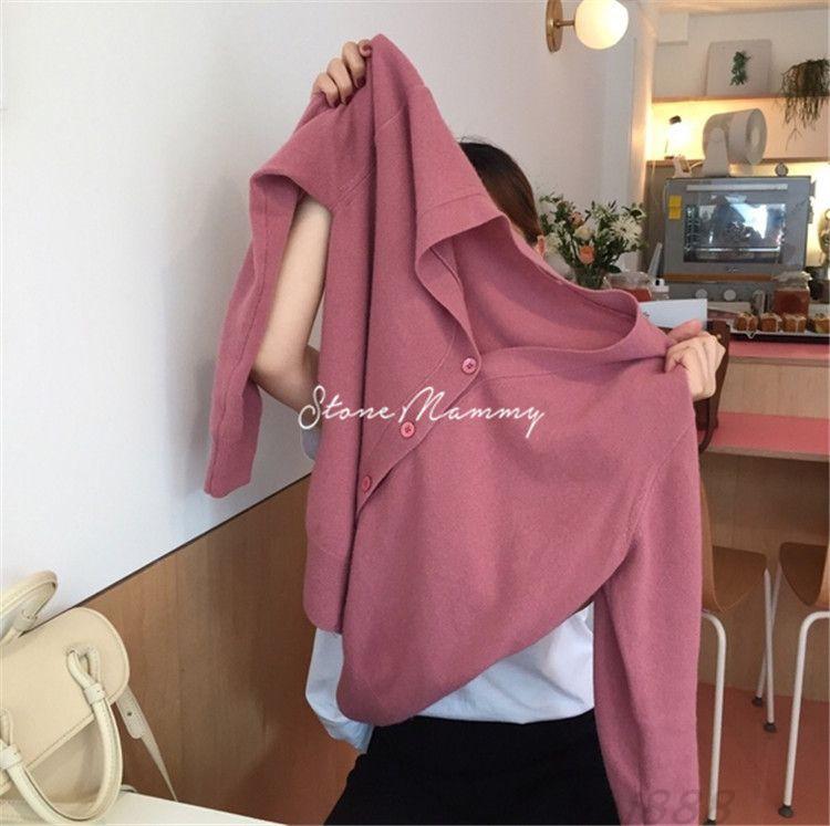 RUNSHI Áo khoác Cardigan Áo len cardigan màu hồng nữ mùa thu / đông 2019 Áo len cashmere mới với áo