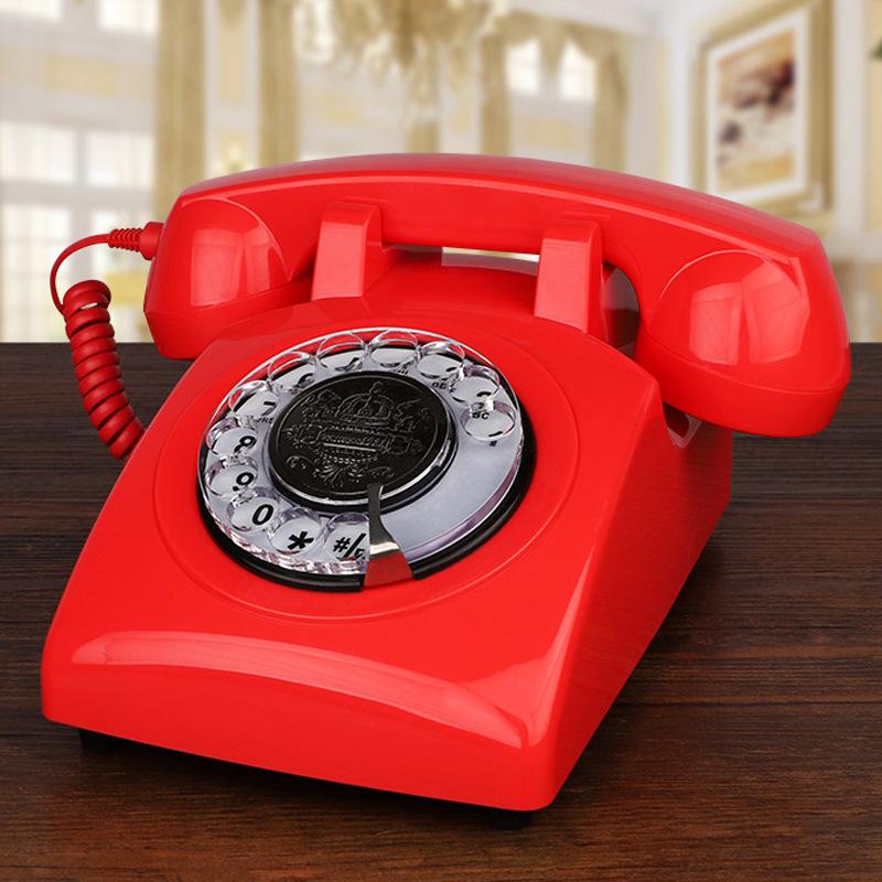 Điện thoại Các nhà sản xuất cung cấp điện thoại cố định retro châu Âu và Mỹ Điện thoại quay màu quay