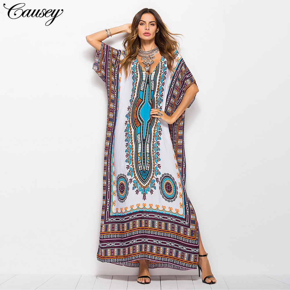 CAUSEY Thời trang Xuân / Hè 2019 Váy dành cho nữ Cộng với kích thước Hot Bán gió Nam Mỹ In thời tran