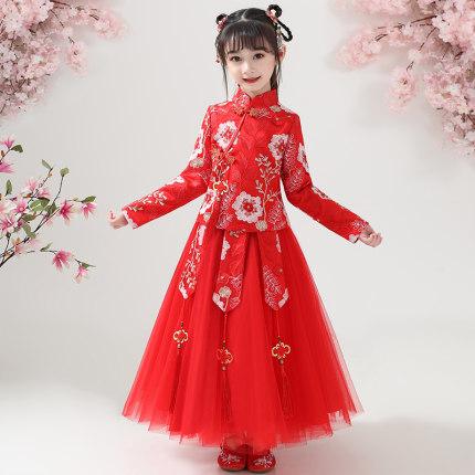 Anneyol Trang phục dạ hôi trẻ em Cô gái Hanfu 2020 mùa xuân váy mới công chúa váy trẻ em mùa thu và