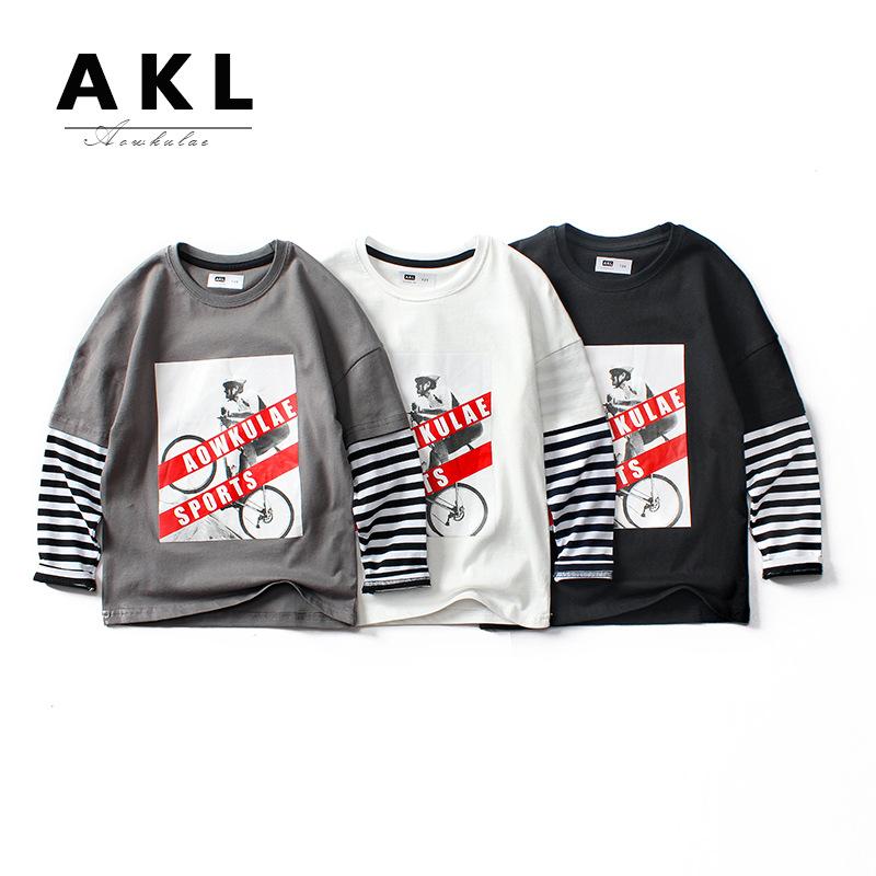 AOWKULAE áo thun Mùa xuân 2020 quần áo trẻ em Phiên bản mới của Hàn Quốc áo sơ mi dài tay của bé tra
