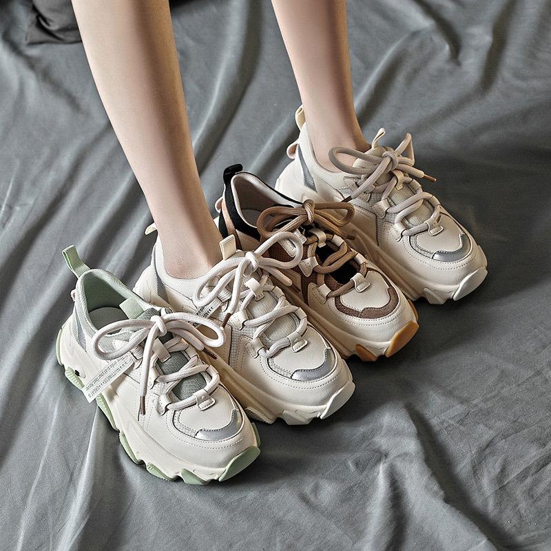 BAILI Thị trường giày nữ Giày Daddy nữ triều 2020 mùa xuân mới bằng da thời trang dải giày thể thao