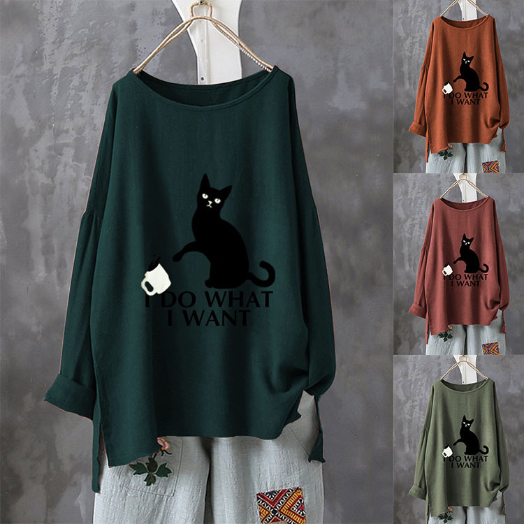 Áo thun cổ tròn chạm đáy áo sơ mi nhỏ sơ mi 2020 mùa thu mới của phụ nữ hàng rào cotton và vải lanh