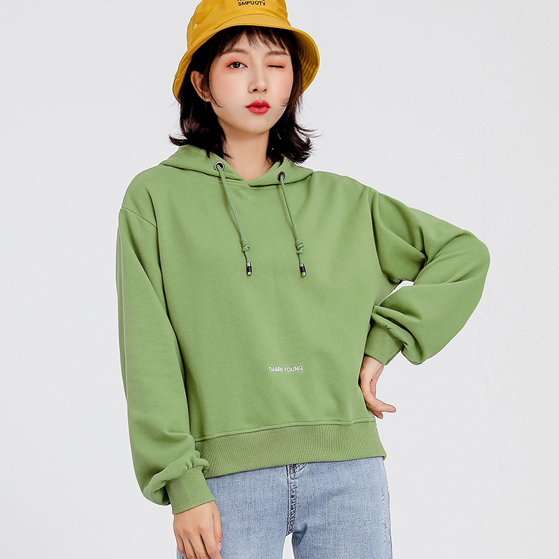 Sweater (Áo nỉ chui đầu) Mùa xuân sang trọng và mùa thu mới áo đơn giản ngắn trùm đầu áo len áo len
