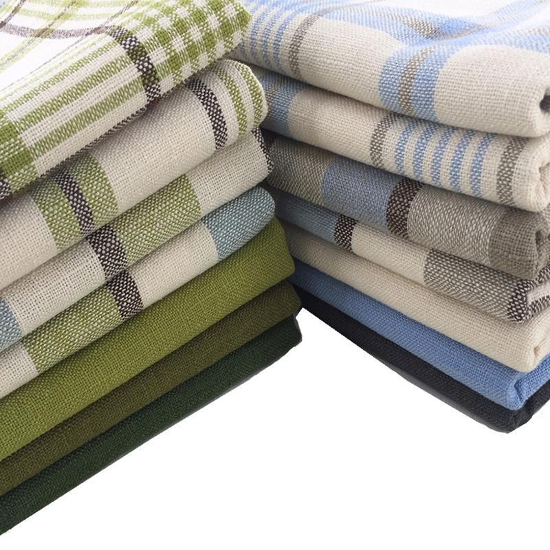 FENGLIN Vải cotton pha polyester Vải dày mặc vải lanh sofa vải rắn màu sofa bìa gối xe bìa vải polye
