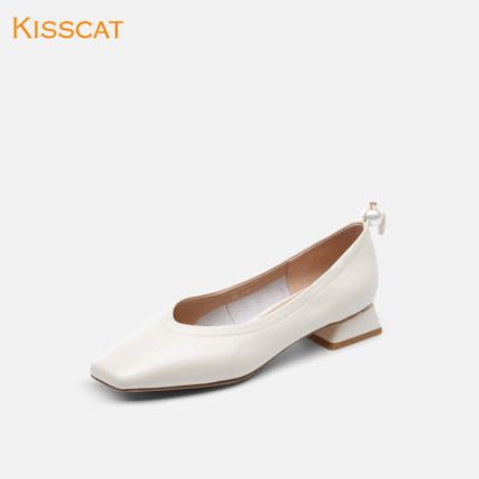 Giày da một lớp  Kissing mèo 2020 mùa xuân mới retro da bò cao gót vừa và đế mềm đế vuông đế mềm