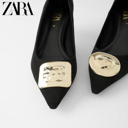 ZARA Giày da một lớp  Giày nữ ZARA mới màu đen chi tiết kim loại giày cao gót đế xuồng 12800510040