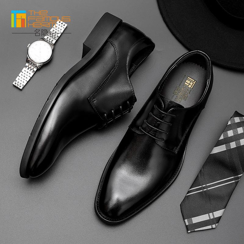 The famous herm Giày da Giày nam TFH   giày cao cấp ren-up handmade da bò lớp da nam xuyên biên giới