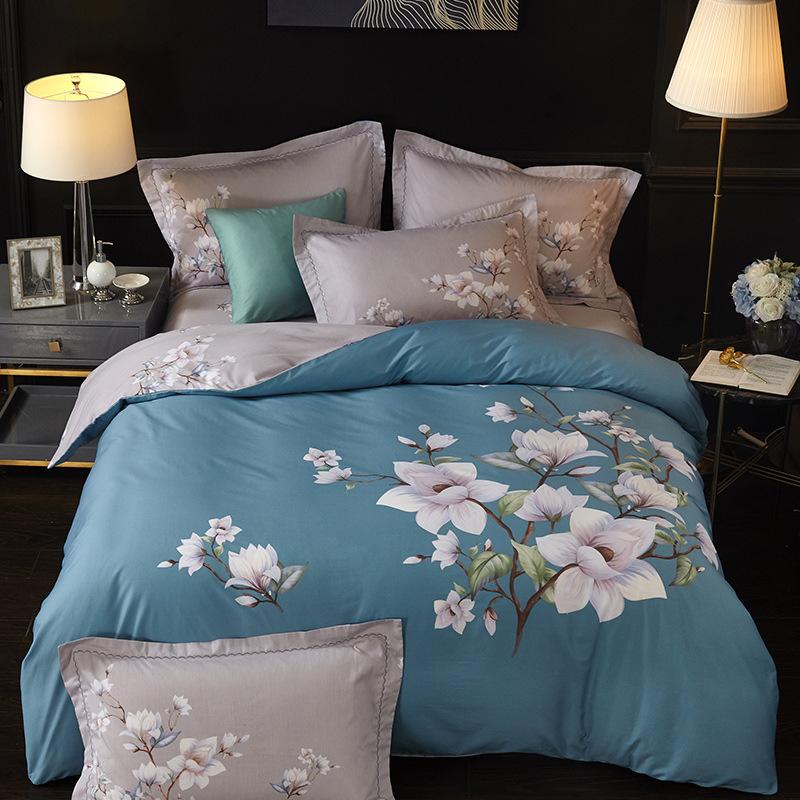 Ruifeng Dệt may gia dụng cotton bốn mảnh bộ đồ giường đồng bằng tươi và đơn giản chăn ba mảnh trải g