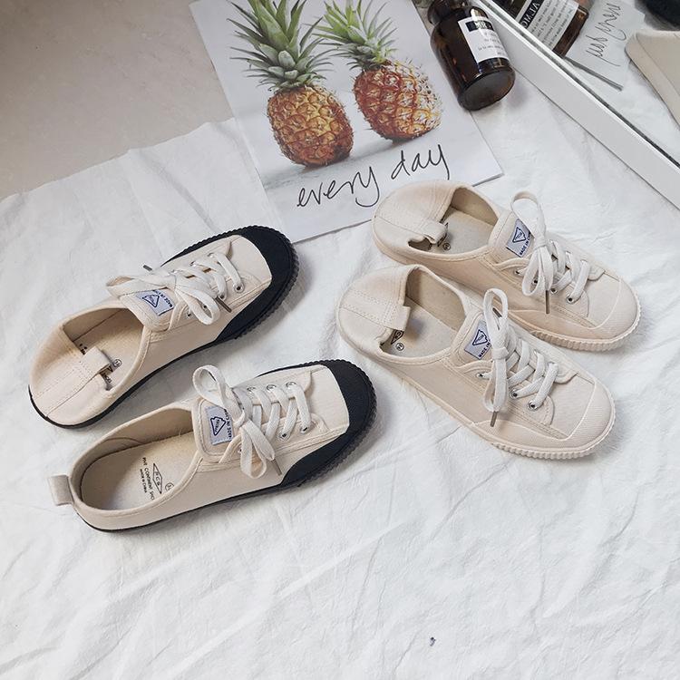 FCS Thị trường giày nữ 201 mùa xuân và mùa hè mới giày vải retro giản dị nữ sinh viên giày đế bằng t