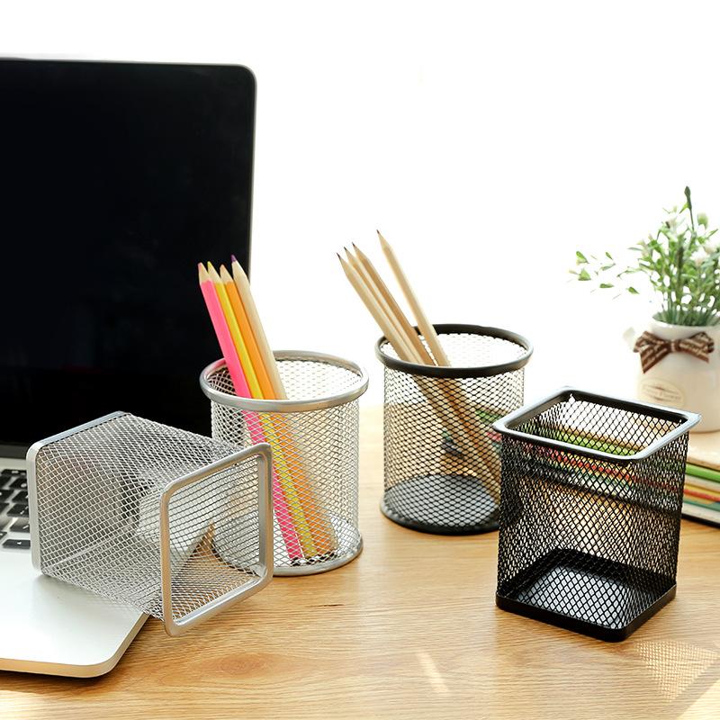 Đồ dùng văn phòng 1391 sáng tạo lưới kim loại rỗng giữ bút đa năng dễ thương sinh viên Hàn Quốc lưu