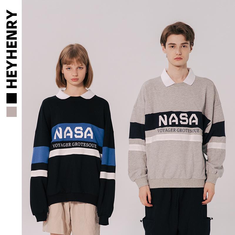 HeyHenry Sweater (Áo nỉ chui đầu) retro áo thun cổ áo vài chiếc áo len rộng ulzzang mùa thu nam xu h