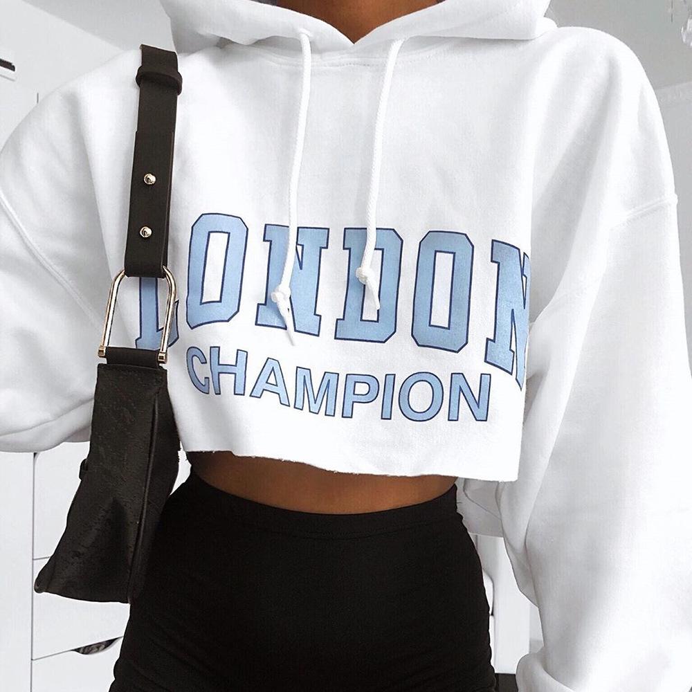 Sweater (Áo nỉ chui đầu) Bán nóng xuyên biên giới mới 2019 mẫu áo mùa thu in chữ nữ tay dài trùm đầu