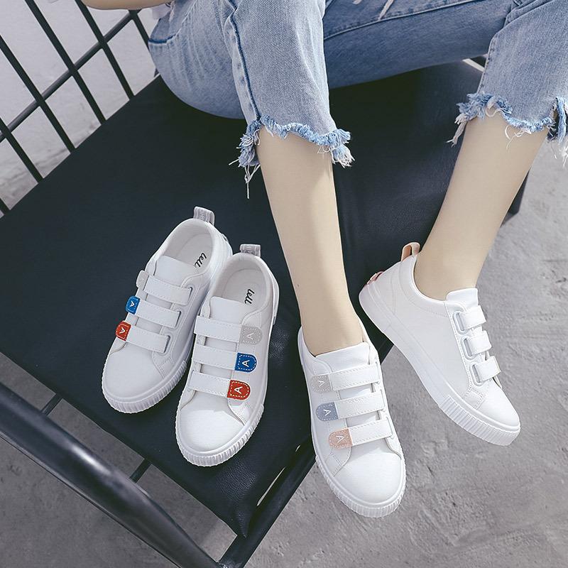 LELL giày vải 2018 mới mùa thu giản dị da hoang dã thoải mái Velcro giày trắng đế bằng giày vải sinh